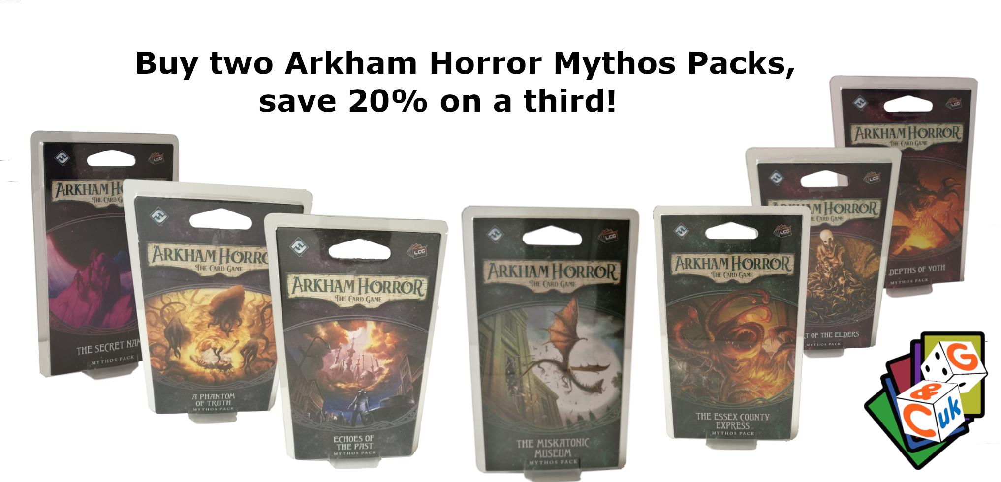 Arkham Horror Card Game Mythos Pack Offer - Buy two, save 20% on a third