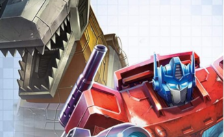 A picture showing Optimus Prime in-front of Grimlock.