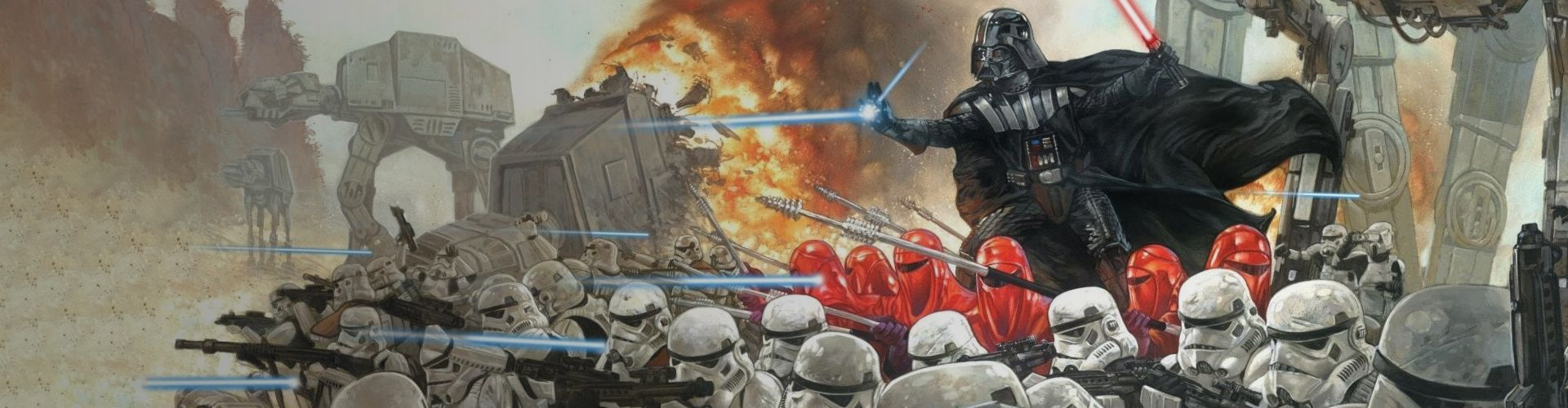 A picture showing Darth Vader leading his army into battle.