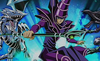 A picture showing Yu-Gi-Oh! characters.